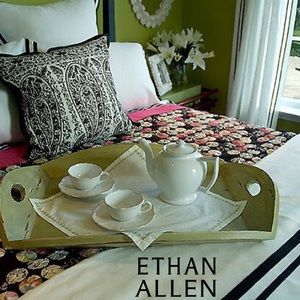Ethan Allen Paisley with Black Embroidered Pillow